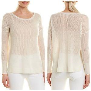 J. McLaughlin Cashmere Ivory Open Knit Sweater L